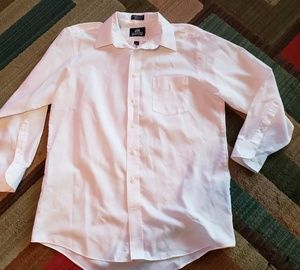 Solid White Men's Long Sleeve Dress Shirt